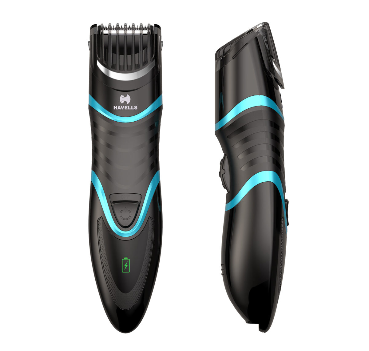 USB Quick Charge Zoom Wheel Beard Trimmer (Black/Blue)