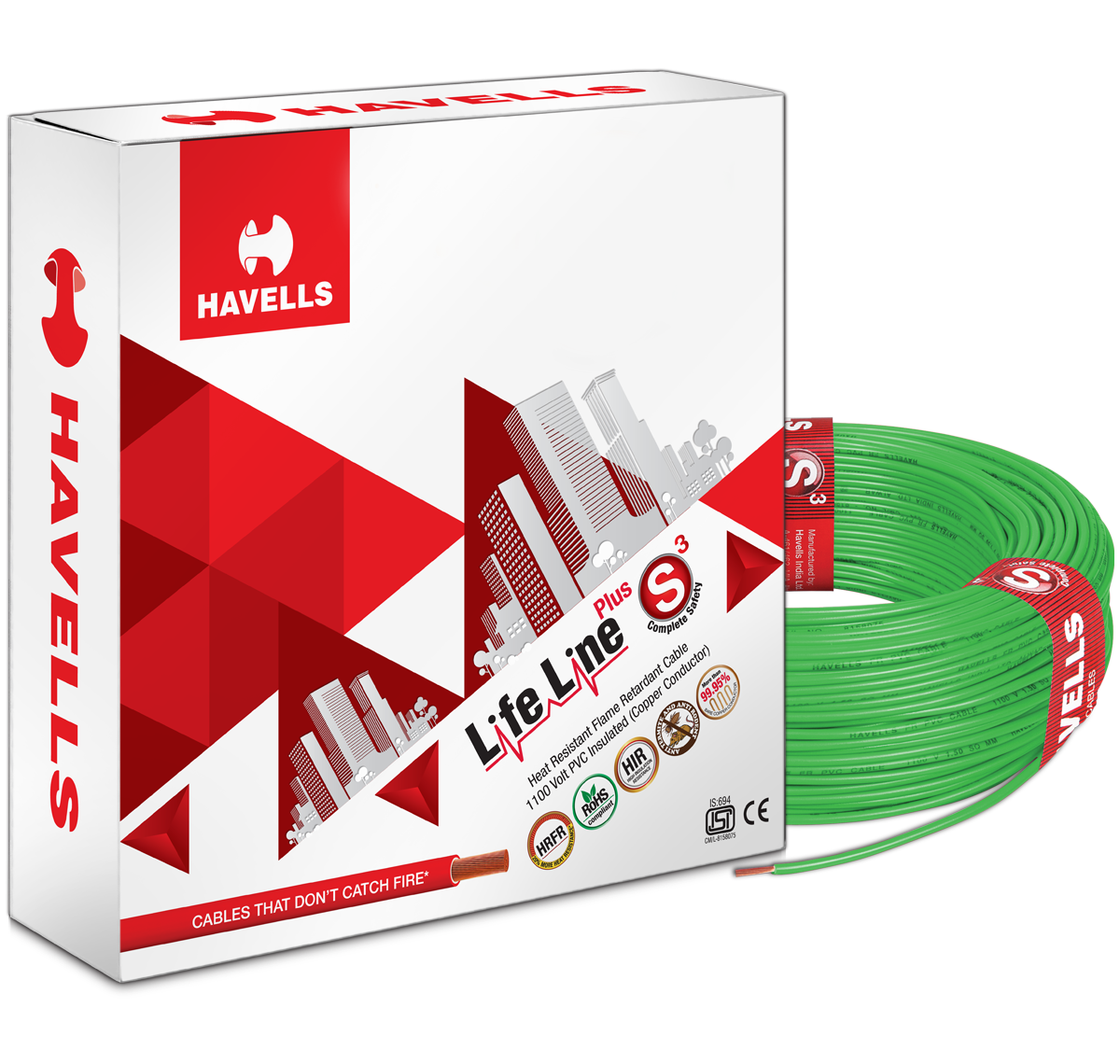 Life Line Plus S3 HRFR Cables (Green)