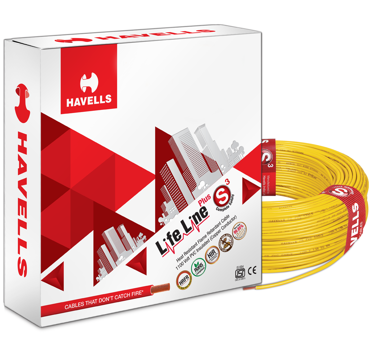 Life Line Plus S3 HRFR Cables (Yellow)