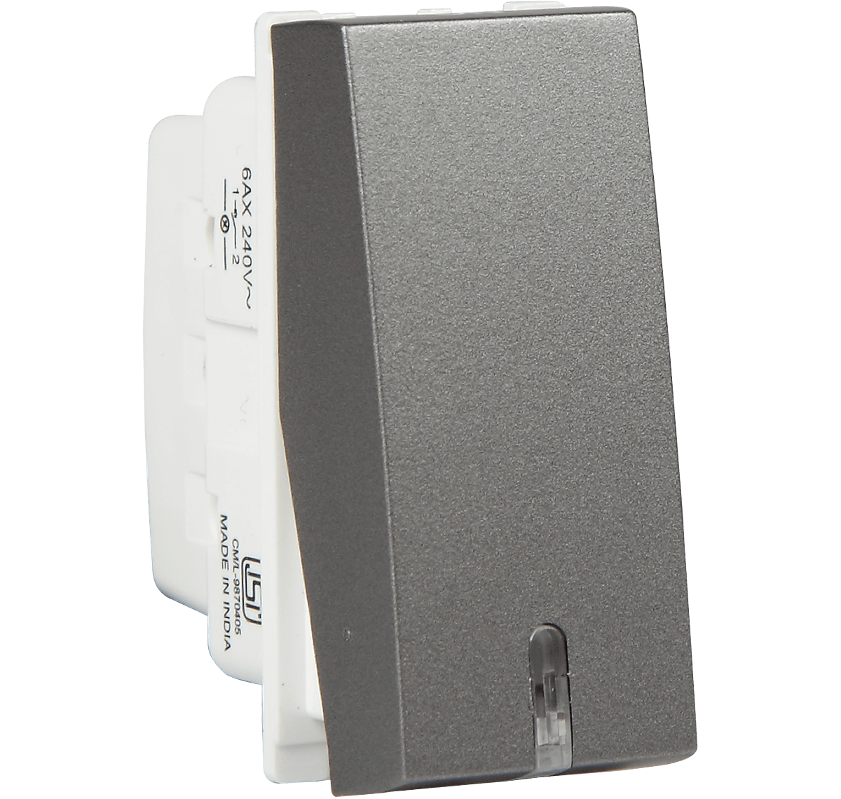6A 1 WAY SWITCH WITH IND ORO M GREY