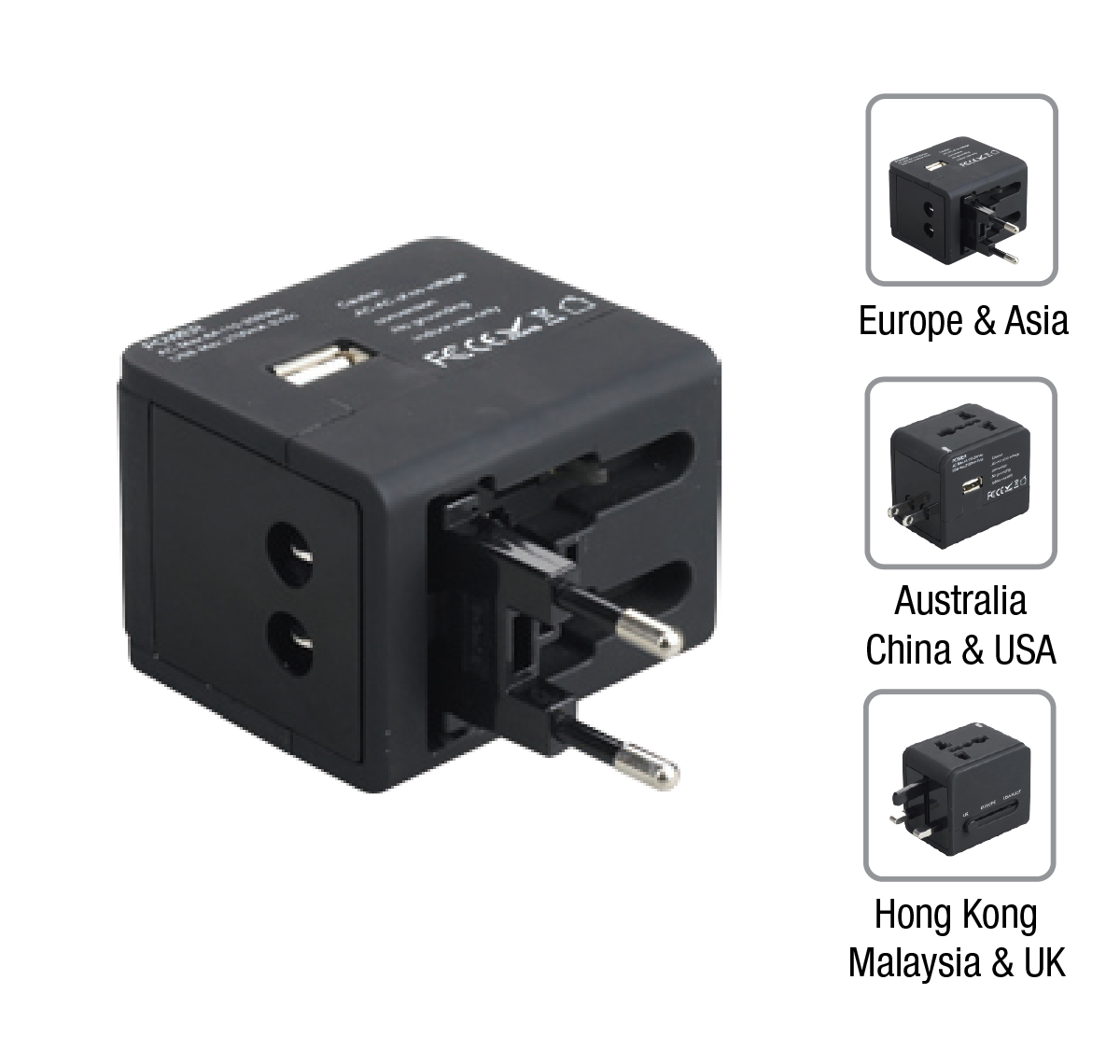 Univ Travel Adaptor USB 2.1 A (Black)