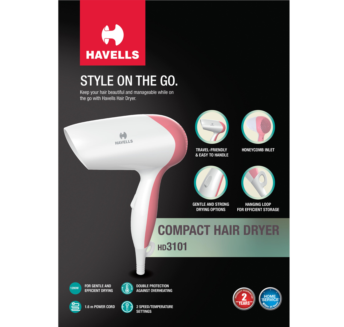 Travel Hair Dryer (Pink)