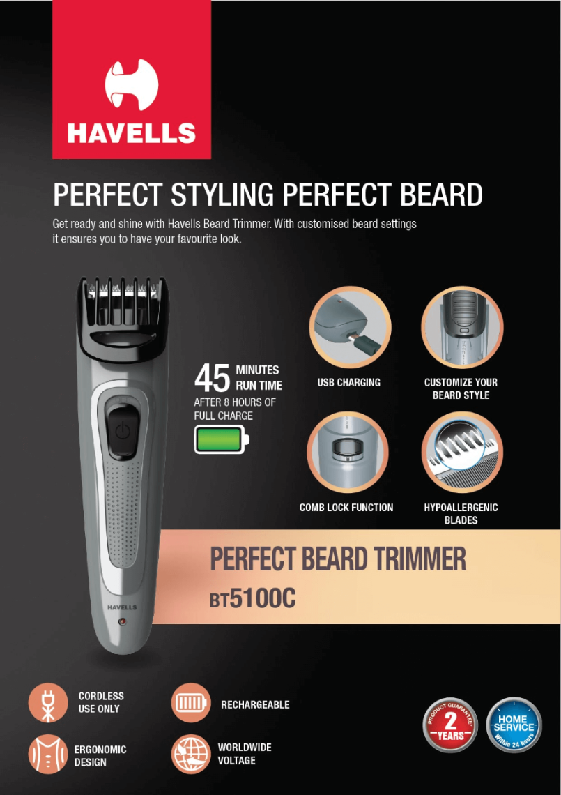 Rechargeable Beard Trimmer (Grey)